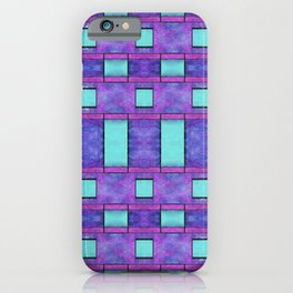 Painted cyan and magenta parallel bars iPhone Case