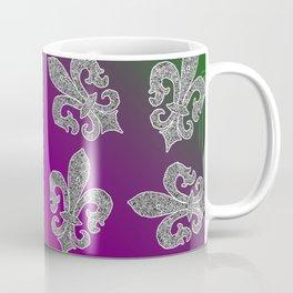 fleur de lis repeating scatter pattern mardi gras colors Coffee Mug