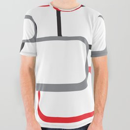 Red Black Gray Retro Square Pattern White All Over Graphic Tee