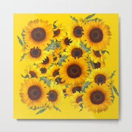 DECORATIVE WESTERN YELLOW SUNFLOWERS FIELDS Metal Print