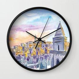 Matera Basilicata Italy Sassi Sunset Wall Clock