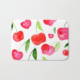 Watercolor cherries - red and green Bath Mat