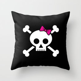 Girl pirate skull and bones with pink ribbon hair bow Throw Pillow
