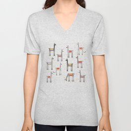 Llamas in the Meadow Unisex V-Neck