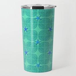 Blue starfish on green sand Travel Mug