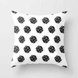 20 Sided Spindown Pattern - White & Black Throw Pillow