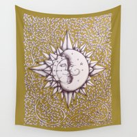 et Wall Tapestries featuring Gold Soleil et Luna by DonnaHuntriss