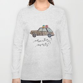 Adventure Awaits.  Watercolor and Typography.  Travel. Adventure Long Sleeve T-shirt