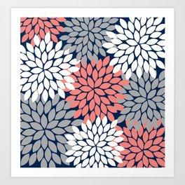 Flower Burst Petals Floral Pattern Navy Coral Gray Art Print