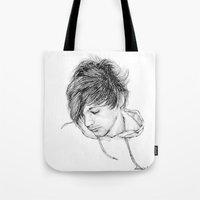 louis tomlinson Tote Bags featuring Louis Tomlinson by Daisied Dream