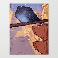 pigeon Canvas Prints featuring Pigeon by Jacob Sanders