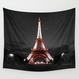 Paris Eiffel Tower Pink Night Wall Tapestry