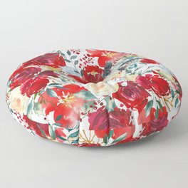 Red teal hand painted boho watercolor roses floral Floor Pillow