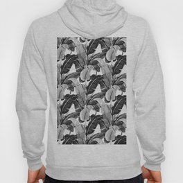 Tropical banana leaf black and white Hoody