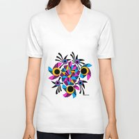 rose V-neck T-shirts featuring - rose - by Magdalla Del Fresto