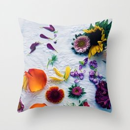 Bouquet of Petals and Flowers Still Life Throw Pillow