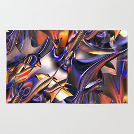 Iridescent Copper Metallic Patina Abstract Rug