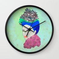 japan Wall Clocks featuring Japan by Luna Portnoi