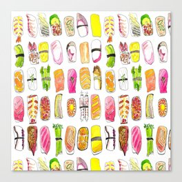 Sushi Watercolor-- Nigiri Sushi Canvas Print