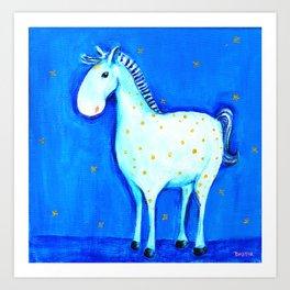 """Blue horse (""""Kékló"""") by Verabella Art Print"""