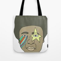 the dude Tote Bags featuring dude by Chad spann