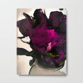 Vase of Roses with Shadows 1 Metal Print