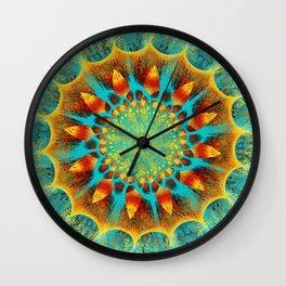 Mandala Flower Green Yellow Art Wall Clock