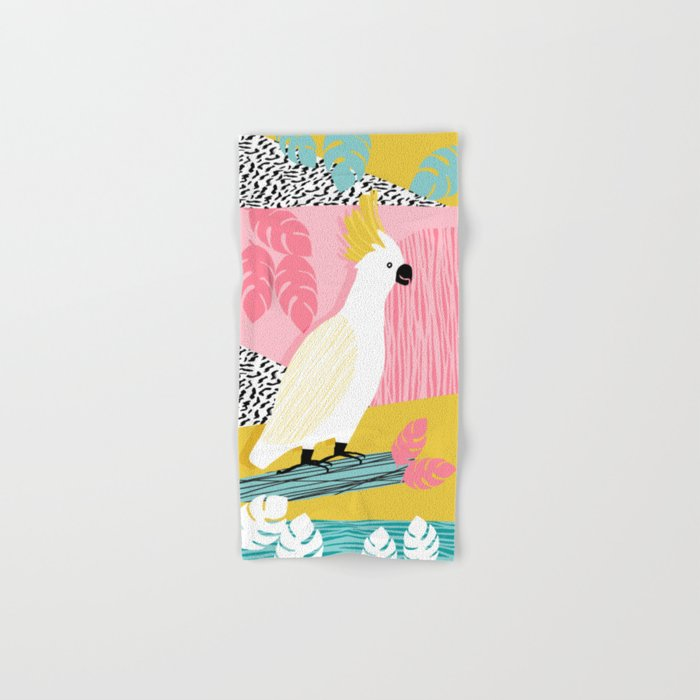 FeelFree - memphis throwback retro bird tropical nature animal parrot cockatoo 1980s 80s pop art Hand & Bath Towel