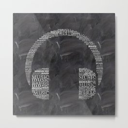Headphone on chalkboard Metal Print