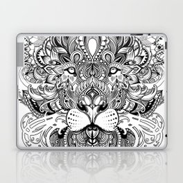 Black And White Geometric pattern mandala lion face Laptop & iPad Skin