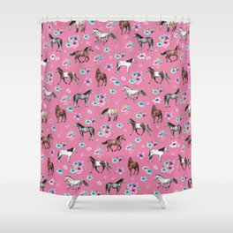 Pink Horse Print, Hand Drawn, Horses and Flowers, Girls Room, Shower Curtain