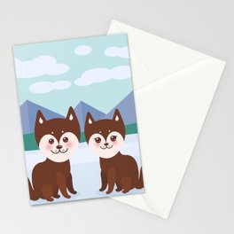 Kawaii funny brown husky dog, face with large eyes and pink cheeks, boy and girl, mountain landscape Stationery Cards