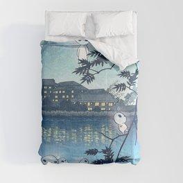 Kodama, Forest spirits vintage japanese woodblock mashup Comforters