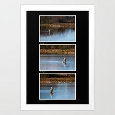 Gone Fishing Triptych Black Art Print
