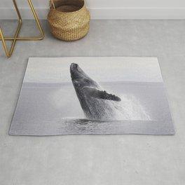 Monochrome humpback whale dance in the ocean floor. Beautiful wild animals photo Rug