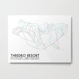 Thredbo, NSW, Australia - Minimalist Trail Map Metal Print
