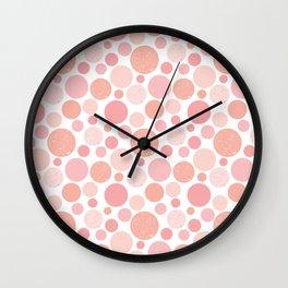 Pastel pink polka dots Wall Clock