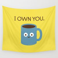 bunny Wall Tapestries featuring Coffee Talk by David Olenick