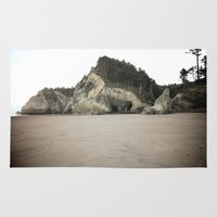 coasters Area & Throw Rugs featuring Hug Point, Oregon by A Wandering Soul