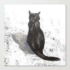 black cat shadow Canvas Print
