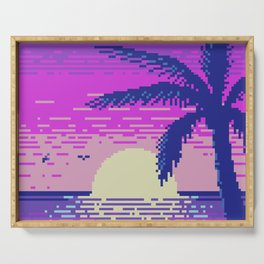 Pixel Sunset Serving Tray