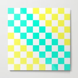 Cheerful Aqua & Yellow Checkerboard Pattern Metal Print