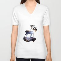 reindeer V-neck T-shirts featuring Reindeer by infloence