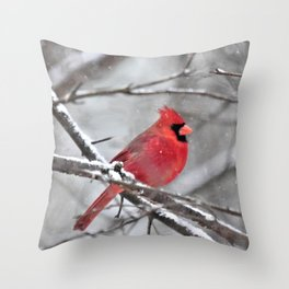 Quiet Time in the Snowy Woods Throw Pillow