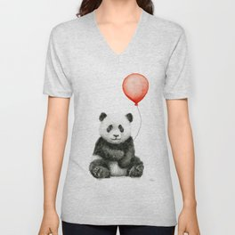 Baby Panda and Red Balloon Unisex V-Neck
