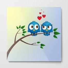 Cute blue birds in love cartoon Metal Print