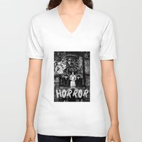 horror V-neck T-shirts featuring Horror by alexflasher