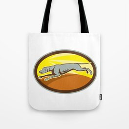 Greyhound Dog Jumping Side Oval Cartoon Tote Bag