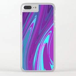 Pink, Purple, and Blue Waves 2 Clear iPhone Case