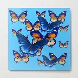 MODERN ART DECORATIVE BLUE-BROWN  BUTTERFLIES Metal Print